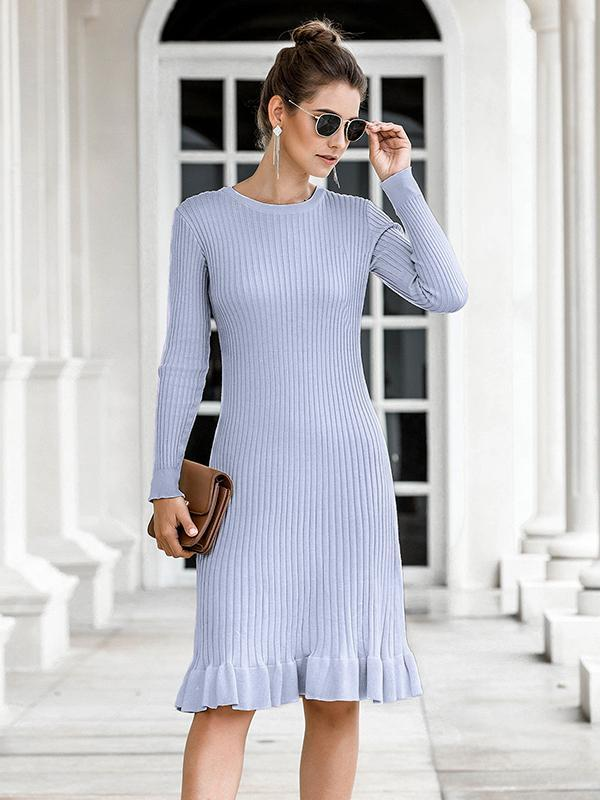 Women's Ruffled fishtail bag hip long sweater dress