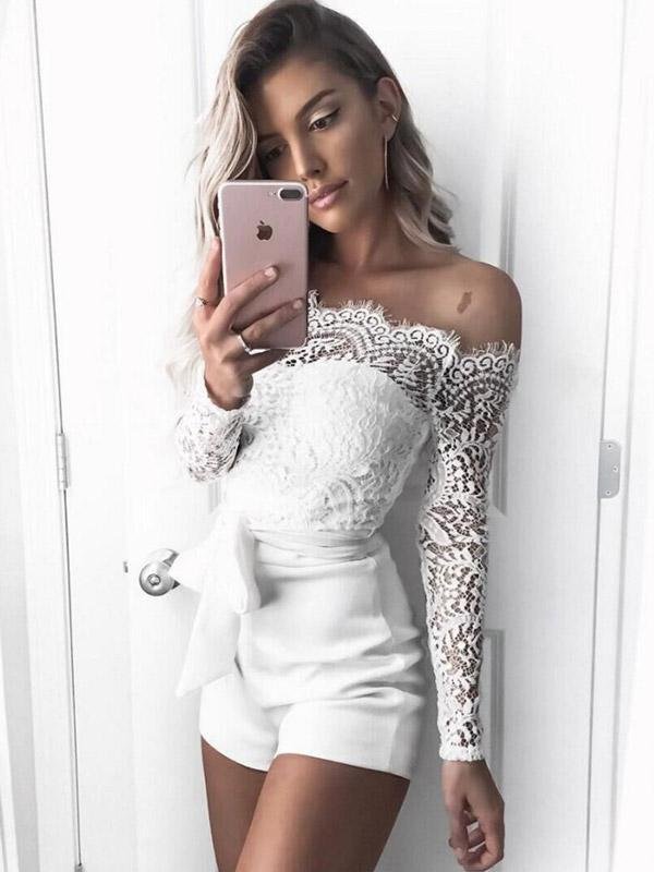 Women's Sexy Lace Word Collar Rompers