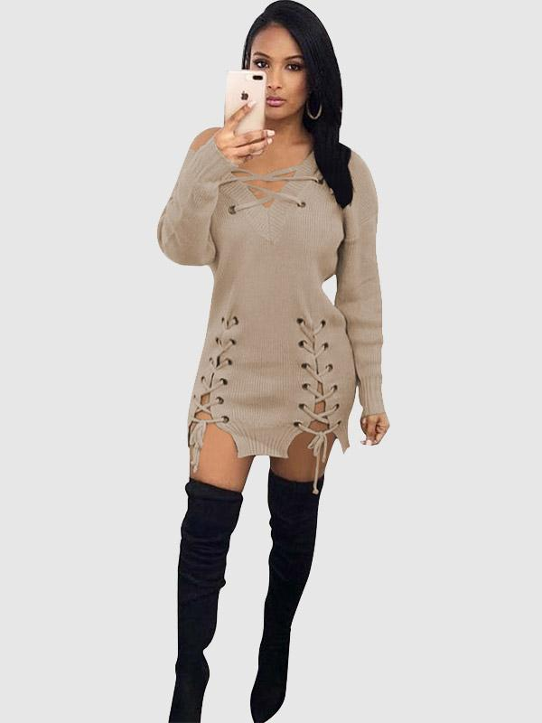 Women's Sexy Long Sleeve Lace Eyelet Mini Dress