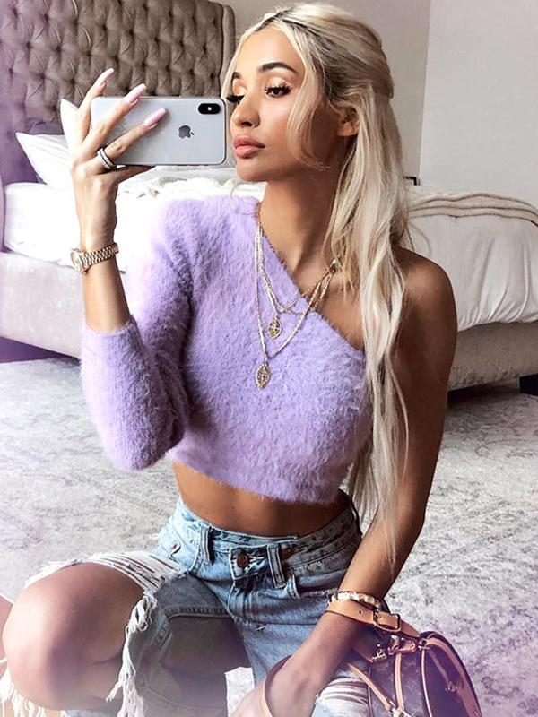 Women's Sexy One-shoulder Short Sweater