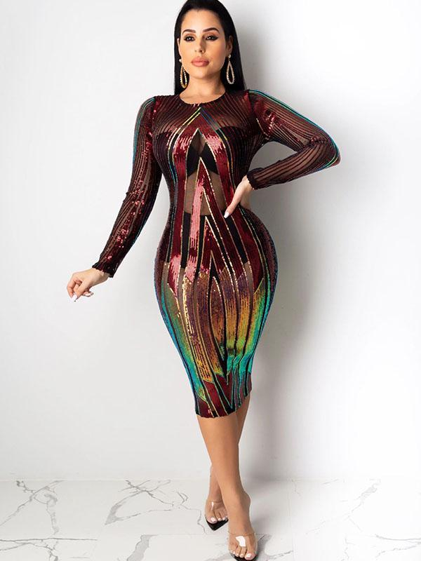 Women's Sexy Perspective Dress With Sequin