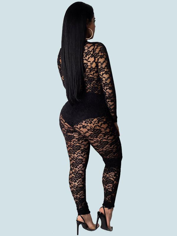 Women's Sexy Perspective Tight lace Jumpsuit