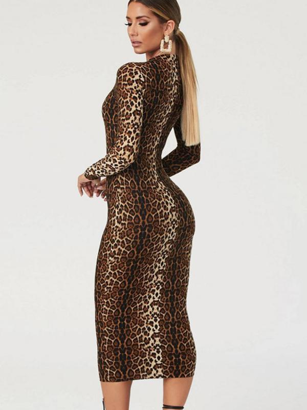 Women's Sexy Printed Long Sleeve Mini Dress