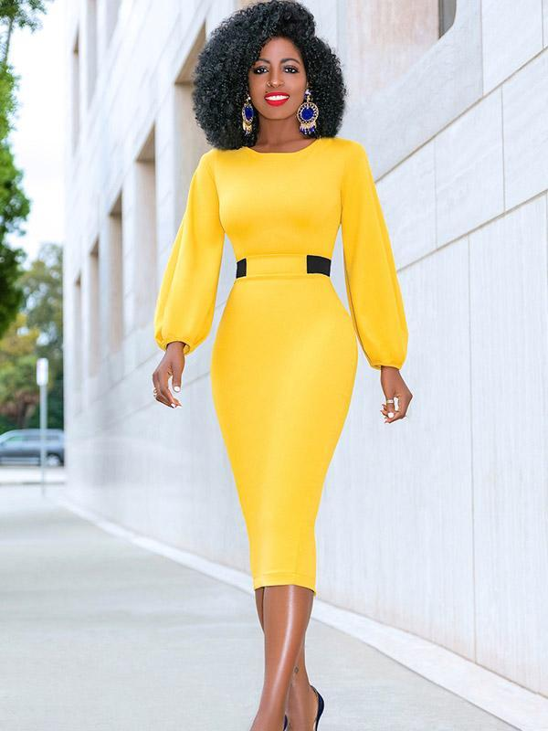 Women's Sexy Round Neck Long Sleeve Solid Color Hip Midi Dress