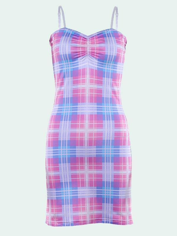 Women's Sexy Sling High Waist Plaid Dress