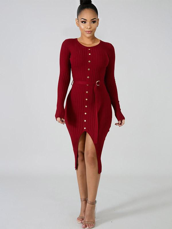 Women's Sexy Solid Color Butt Lifting Midi Dress