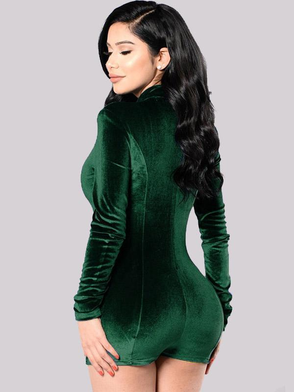 Women's Sexy Solid Color Long Sleeve Romper