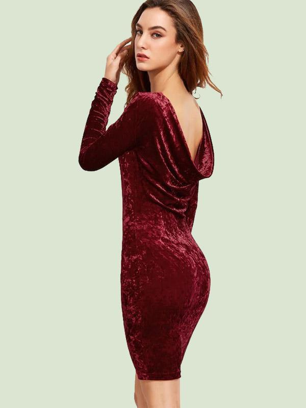 Women's Sexy U-shaped Backpack Hip Velvet Dress