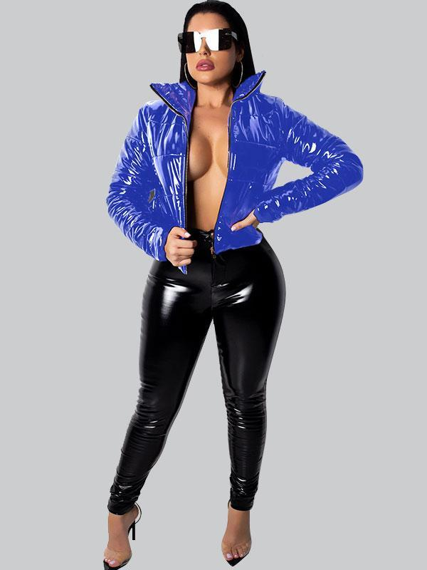Women's Shiny PU leather short coat