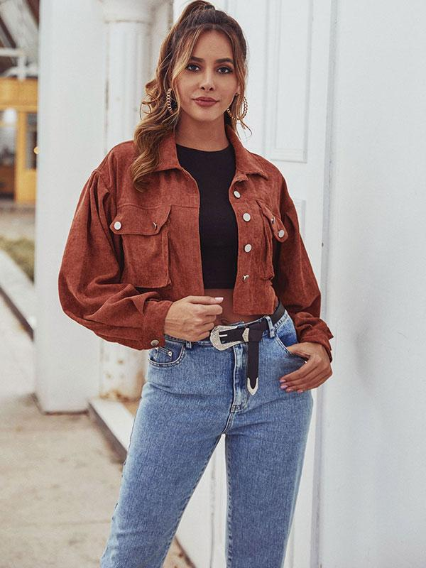 Women's Short corduroy Solid color jacket