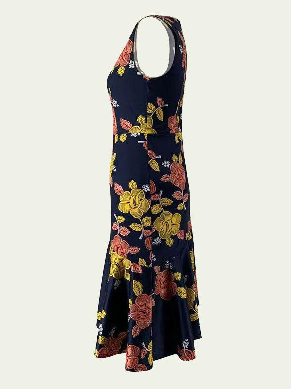Women's Sleeveless dress with printed irregular hem