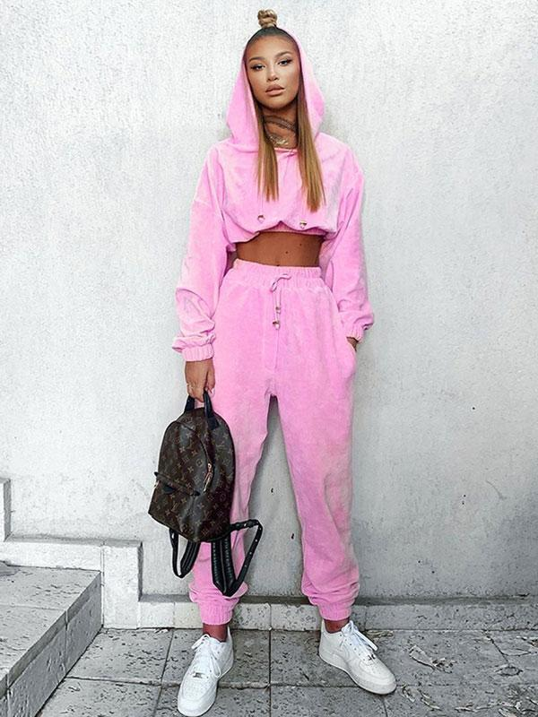 Women's Solid Color Hooded Long Sleeve Sweatshirt &Casual Pants sets