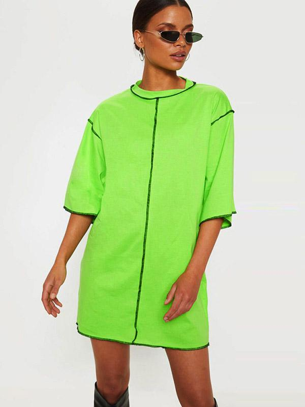 Women's Solid Color Loose Top Dress