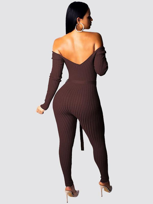 Women's Solid Color Sexy V-neck jumpsuit