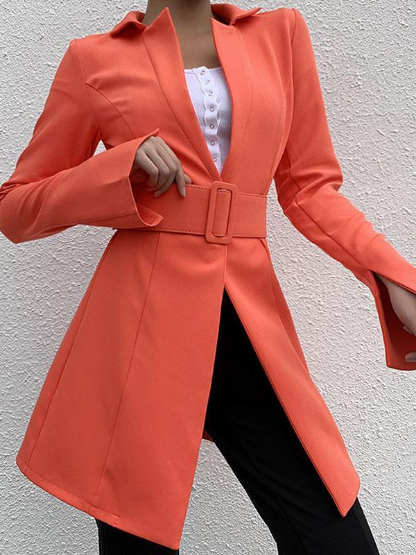 Women's solid color slim temperament long waist blazer