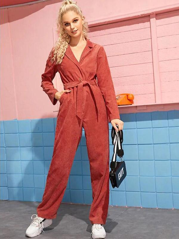 Women's Solid color stitching corduroy jumpsuit with belt