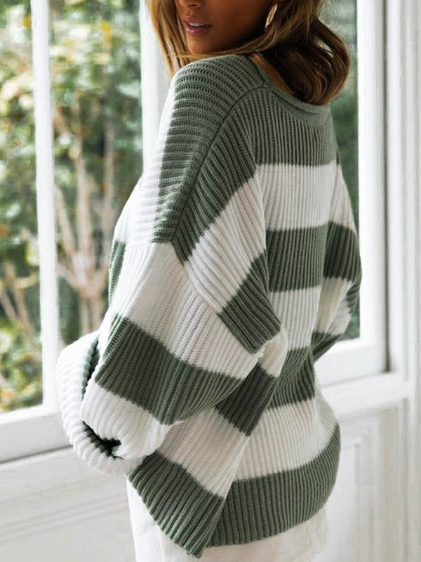 Womens Striped Sweaters Pullover Oversized Chunky Crew Neck Color Block Jumpers