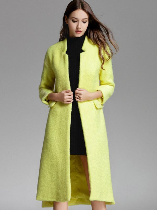 Women's Thick warm lapel solid coat