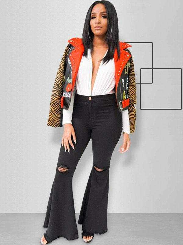 Women's Tiger head print casual jacket with studded leather