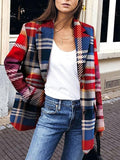 Women's Trendy Fold Collar Check Print Coat