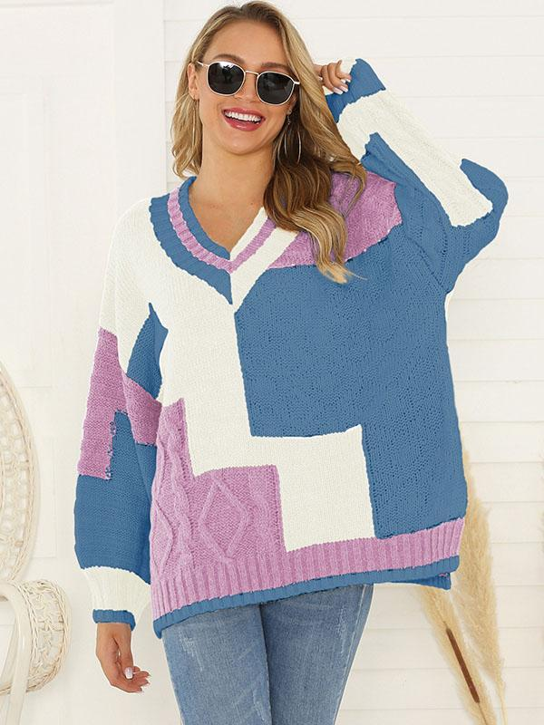Women's V-Neck Casual Knit Pullover Sweater