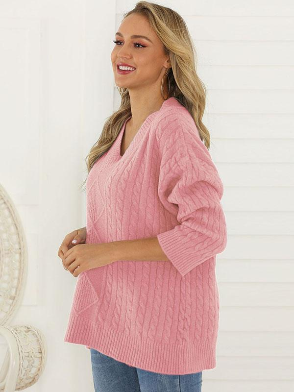 Women's V-Neck Knit Pullover Sweater