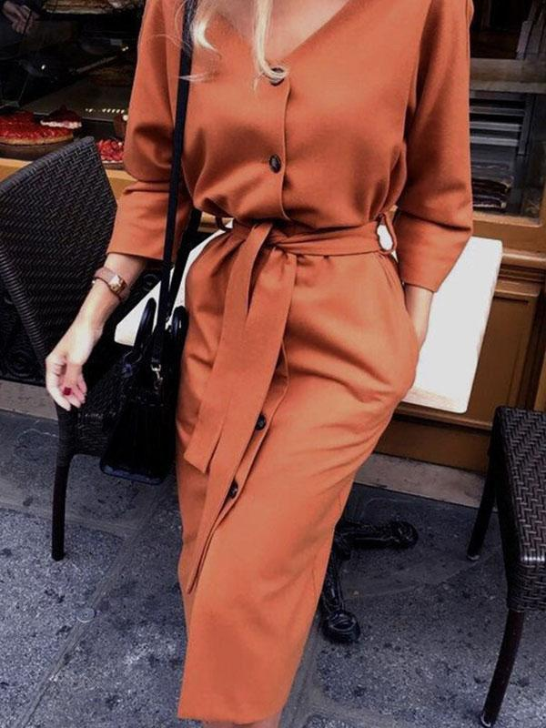 Women's V-neck long sleeve slim midi dress