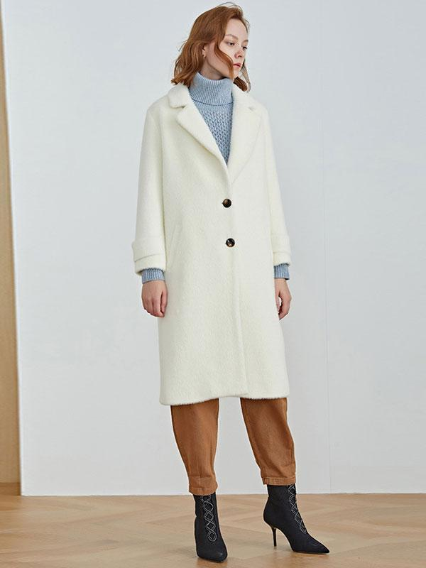 Women's White Lapel Coat Thickened Warm Woolen Coat