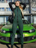 Women's Zip-up hooded sports and leisure jumpsuit