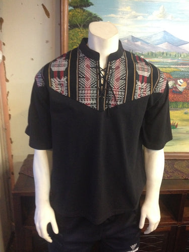 Black Short Sleeve Peruvian Shirt, Size XL