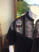 Load image into Gallery viewer, Black Short Sleeve Peruvian Shirt, Size XL
