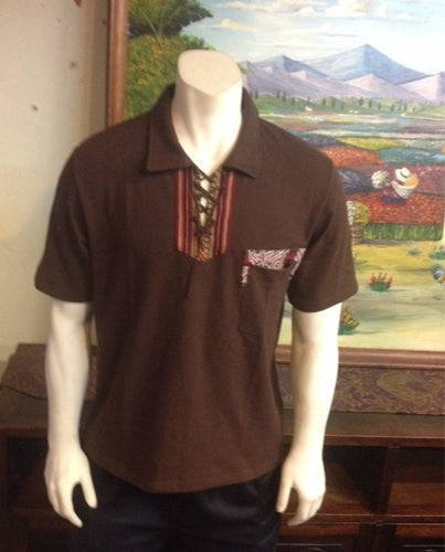 Brown Short Sleeve Peruvian Shirt, Size XL