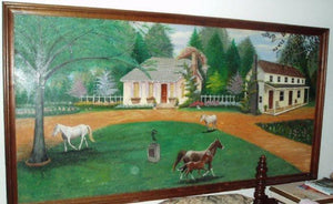 hand painted horse scenery