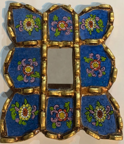 Peruvian reverse painted glass decorative wall art blue