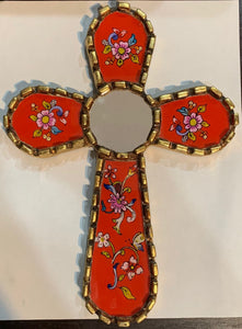 Reverse Painted Glass Wall Cross - Red
