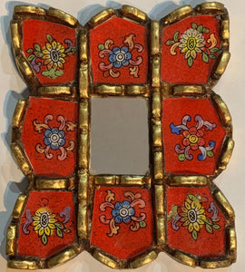 Peruvian reverse painted glass decorative wall art red 2