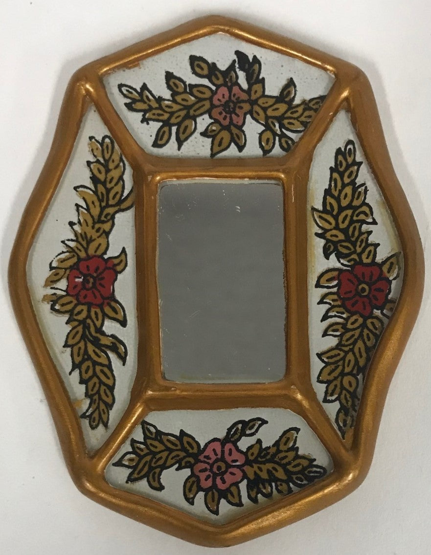 Peruvian reverse painted glass decorative wall art white
