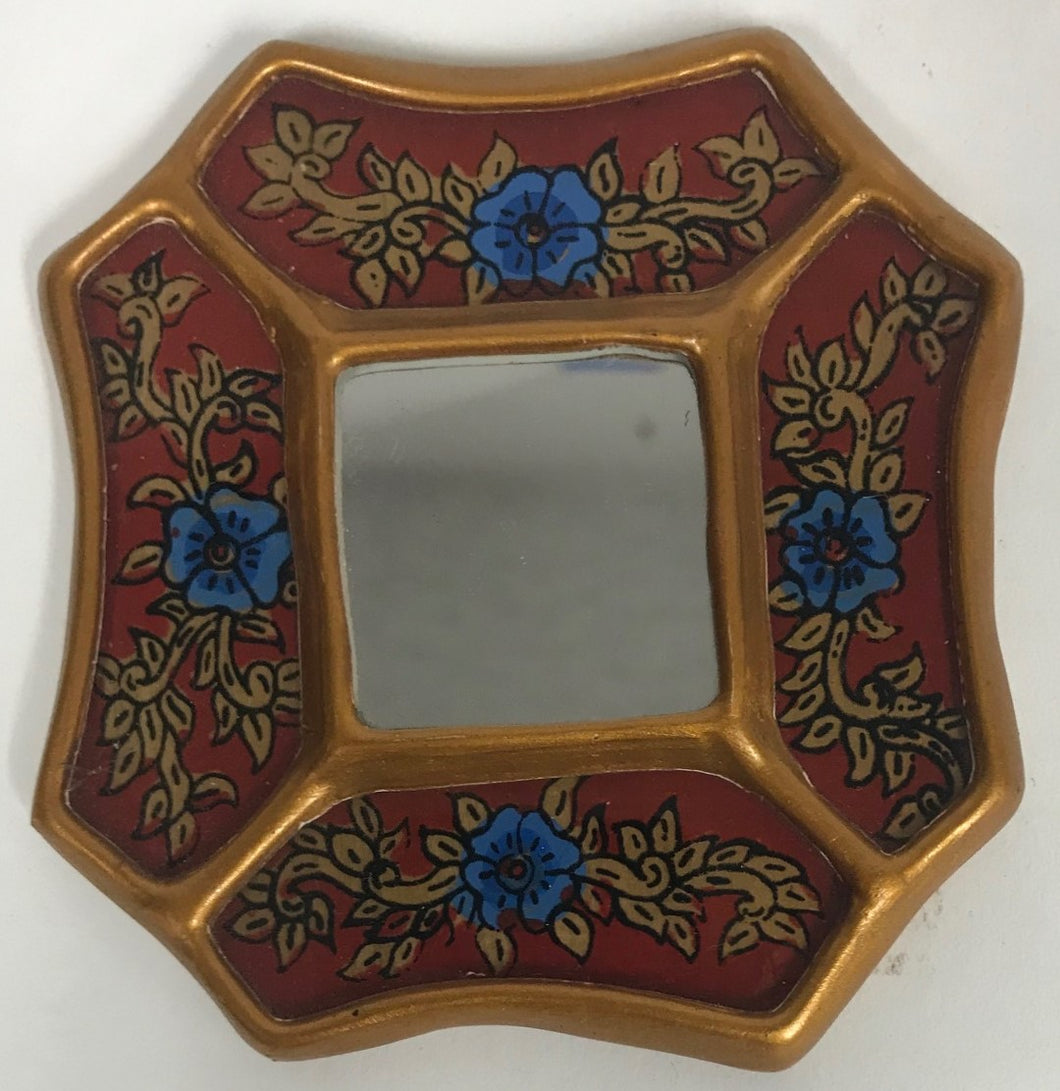 Peruvian reverse painted glass decorative wall art red