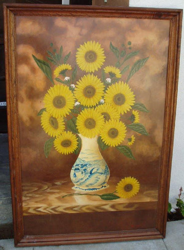 hand painted Sunflowers in Vase