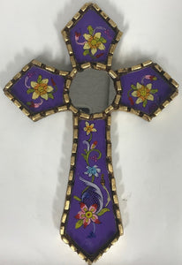 reverse painted wall cross, made in Peru