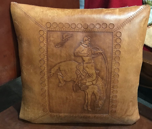 Hand Tooled Leather Pillow Cover
