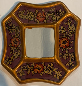 Peruvian reverse painted glass decorative wall art purple