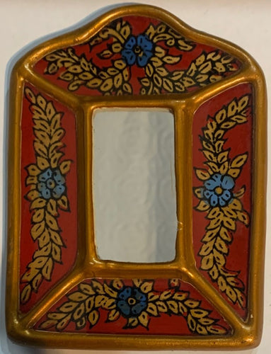 Peruvian reverse painted glass decorative wall art - red