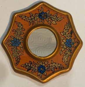 Peruvian reverse painted glass decorative wall art - orange