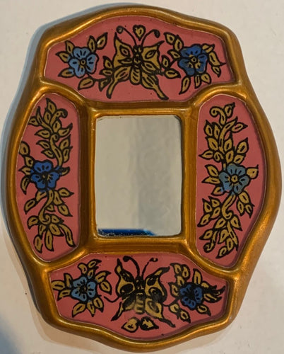 Peruvian reverse painted glass decorative wall art - pink