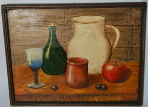 Still life of a glass, pitcher, bottle, apple and capulis on table