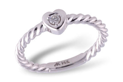 Diamond Heart Twist Ring