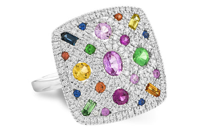 Natural Multi Colored Sapphire and Diamond Pave Ring