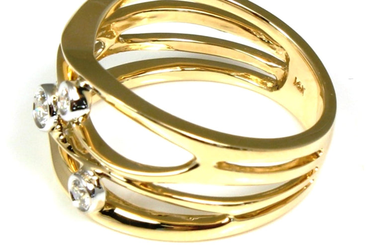 Yellow Gold Bezel Diamond Orbit Ring