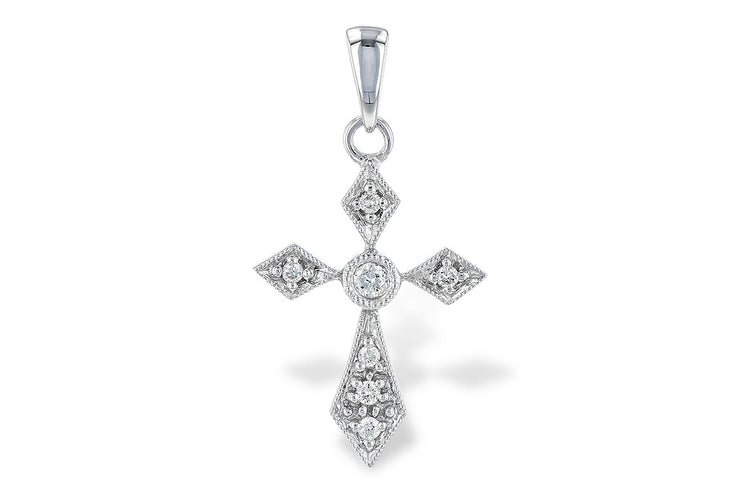 Milgrain Deco Diamond Cross